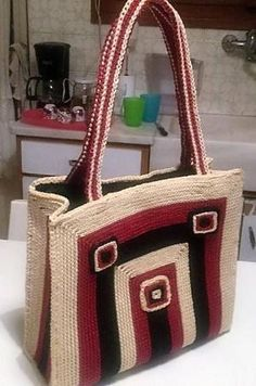 Women Market Crochet Bag Plastic Canvas Beige Black Purple by ollie