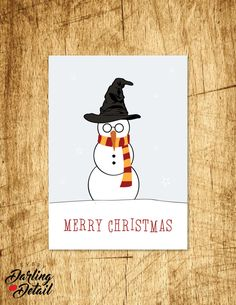 "Harry Potter Inspired Christmas Card  |  Holiday Card, Merry Christmas Snowman, Blank Interior |  Printable Digital Download  |  5x7"" A7"