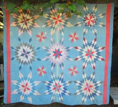Antique Hand Sewn and Quilted Patchwork Quilt Blue Back Ground AU12 206 | eBay