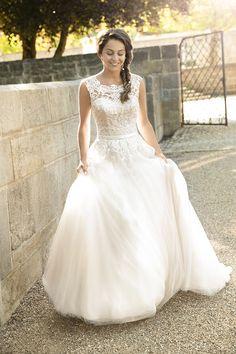 Brautkleid 11625 Elvira mit Schleppe, Tüll mit Spitze