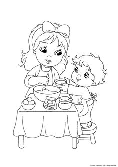 disegno da colorare festa della mamma Coloring Pages Winter, Coloring Pages For Kids, Preschool Learning Activities, Black And White Drawing, Doodle Drawings, Cartoon Kids, Doll Patterns, Colouring, Paper Dolls
