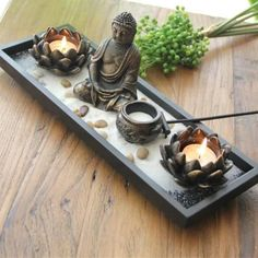 Japanese Zen Garden with Buddha & Lotus Flowers