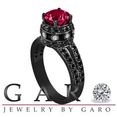 Garnet & Black Diamond Engagement Ring Vintage by JewelryByGaro, $1,470.00