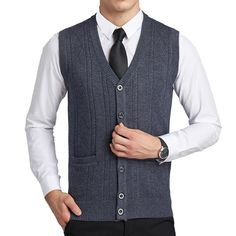 8323bc2464 gi.amagi Mens Wool Vest Male Cardigan Knitting Lightweight V-Neck  Sleeveless Sweater Waistcoat