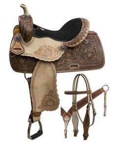 """14"""", 15"""", 16"""" Double T Barrel style saddle with rainbow crystal rhinestones. This barrel style saddle features dark oil tooled skirts and rough out fenders and jockeys with a serpentine tooled border"""