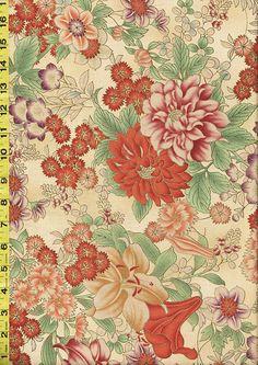 Asian Quilting, Sewing Fabric - Hoffman Kotori -  Exotic Floral Garden - Tan & Burnt Orange - Antique Gold $12.25/yd