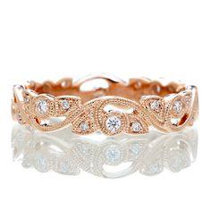 rose gold vine wedding ring | 14 Karat Rose Gold Diamond Vine Infinity Forever Twist Eternity ...
