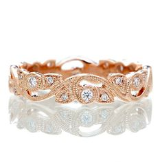 14 Karat Rose Gold Diamond Vine Infinity Forever Twist by SAMnSUE, $685.00
