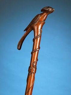 Antique Canes and Walking Sticks, Decorative Canes, Folk Art Bird Cane ~ M. Handmade Walking Sticks, Wooden Walking Sticks, Walking Sticks And Canes, Walking Canes, Cannes, Wooden Canes, Cane Handles, Cane Stick, Or Antique