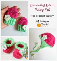 Free Crochet Pattern: Blooming Berry Baby Set: Mittens, Booties & Earflap Hat