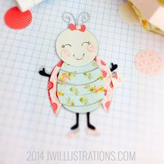 Sweet Lady Bug Girl Cut It File - JW Illustrations