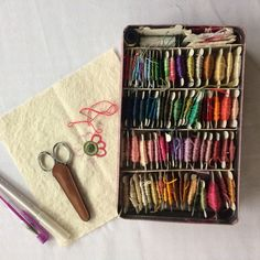 My current embroidery project, and my newly organized thread box.