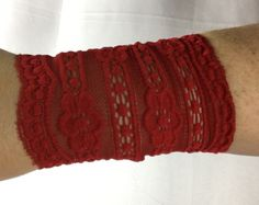 Red Lace Wrist Cuff, Red Pinstriped Boot Cuff, Wrist Cuff,  Boot Lace, Tattoo cover up, Boho cuffs, arm covers, lace cuffs by Inspiredthread on Etsy