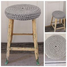 cover an old stool with a crochet seat cover, use elastic band to make it tight. Diy Crochet Animals, Crochet Diy, Crochet Home, Love Crochet, Bar Stool Covers, Chair Covers, Seat Covers, Cotton Cord, Haus Am See