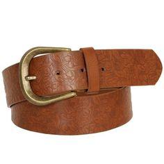 Cinturón marrón grabado.