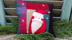 Primitive Stitchery Santa Wool Shelf tuck, bowl filler, shelf sitter, pillow #NaivePrimitive #Artist Primitive Pillows, Primitive Stitchery, Potpourri, Bowl Fillers, Christmas Stockings, Shelf, Santa, Wool, Antiques