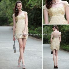 Short Prom Dress - Cap Shoulder Empire $122.40 (was $153) Click here to see more details http://shoppingononline.com/cocktail-dresses/short-prom-dress-cap-shoulder-empire.html #ShortPromDress #CapSleeves #EmpireDress #ShortDress #CocktaiDress