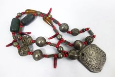 Vintage Maya Ethnic Trade Bead, Amber, Jade Chachal Necklace from Guatemala