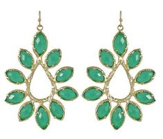Kendra Scott Nyla Starburst Earrings in Green & 14K Gold Plated Kendra Scott. $93.00. Base stone: Simulated Faceted Green Onyx. Ear Wire Closure. Measurements: Approximate.  Hang is 2.50 inches by 1.50 inch at their widest. Comes with its signature Kendra Scott fabric bag. 14k Gold Plated over Brass