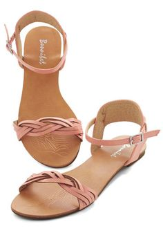 Authentic Attitude Sandal - Flat, Faux Leather, Pink, Solid, Braided, Casual, Beach/Resort, Pastel