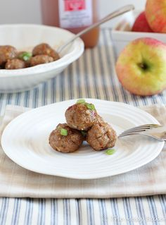 Apple-glazed meatballs: turkey meatballs with shredded apple, plus cider glaze.