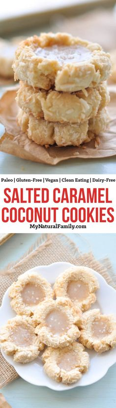 Salted Caramel Thumbprint Paleo Coconut Cookies Recipe {Gluten-Free, Clean Eating, Dairy-Free, Vegan}