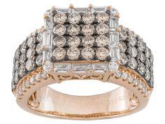 Bella Luce (R) 4.22ctw Champagne & White Diamond Simulant Eterno (Tm) Rose Ring (2.25ctw Dew)
