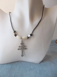 Silver Pewter Patriarchal Cross with Bone on by ShadowoftheCross