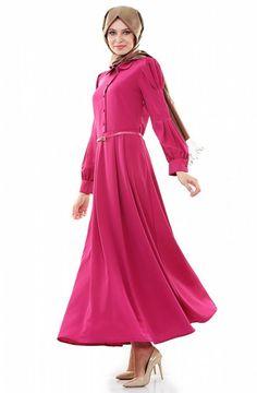 Burcum BCC Bebe Yaka Elbise-Fuşya 7068-43