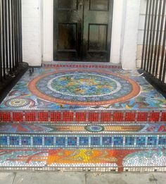 Mosaic tiled entrance steps-do i DARE? This would certainly give the neighbors something to talk about!