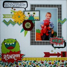 Ilene Tell designed this super cute layout using the Our Lil' Monster collection. Love all the fun shapes. #BoBunny, #layouts, @Ilene Tell
