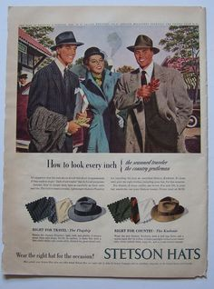 "Vintage Stetson Hats Magazine Ad 1947 Budweiser Beer Full Color 10.5"" x 14"" #StetsonHats"