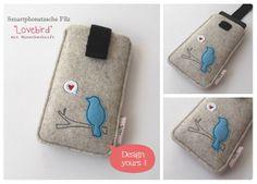 Smartphonetasche Filz Lovebird  von HaGi by Herzig ♥ Genaehtes auf DaWanda.com
