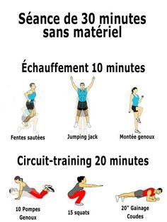 Affiche des 15 exercices du programme d'entrainement