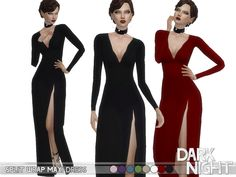 Split wrap maxi dress found in tsr category 'sims 4 female formal' Sims 4 Dresses, Cheap Prom Dresses, Formal Dresses, Sims 4 Cas, Sims Cc, Maxis, Sims 4 Clothing, Sims Mods, The Sims4