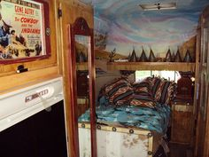 '57 airstream, custom wild west berth, ceiling mural  Best Western I've seen so far.  Love the trim and the just like Vegas painted ceiling.