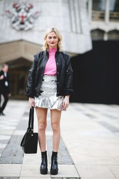 London Street Style That Just Oozes Cool #refinery29  http://www.refinery29.com/2016/02/103453/london-fashion-week-fall-winter-2016-street-style-pictures#slide-55  A metallic miniskirt can give you legs for days....