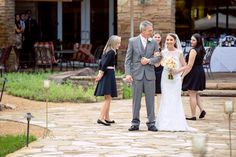 Wedding at Villa Christina in Atlanta, Georgia by www.oncelikeaspark.com.    Father of the bride and bride walk down the aisle. Outdoor wedding ceremony.
