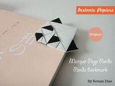 origami facile;origami panda bookmark;marque page origami