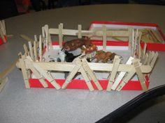 building fences, using popsicle sticks, clothespins, and boxlids.  Unit 3