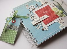 beautiful journal or notebook concept. Use those fancy die cuts and Cricut cartridges! Cricut Cartridges, Mini Albums, Notebook, Scrapbooking, Paper Crafts, Baby Shower, Concept, Journals, Layouts