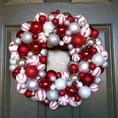 Candy cane wreath made from plastic ornaments :)