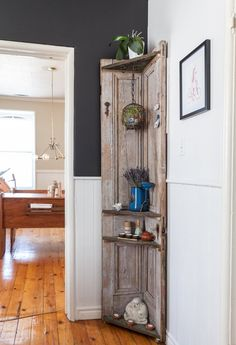 Corner shelf upcycled from old door(s). Nikki & Ian's Quirky, Upcycled & Nature-Inspired Home