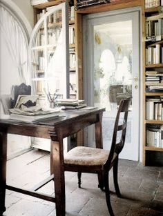 I love this space...the light, the windows, the books!  I could spend hours here...what about you?