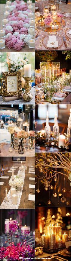 Romantic Candle Wedding Centerpiece Ideas / http://www.deerpearlflowers.com/wedding-ideas-using-candles/