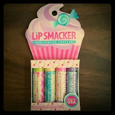 Reserved @rowenjenkins Brand new package of 4 lip smackers.  Enjoy White Chocolate, Coconut Flake, Angel Food Cake and Sugar Plum Frosting. Bonne Bell Makeup Lip Balm & Gloss