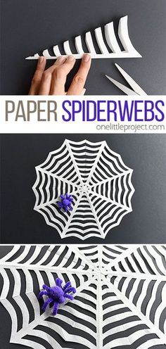 These paper spider webs are SO EASY to make and they look amazing! This is such an awesome homemade Halloween decoration! And it's such a great Halloween craft to make with the kids. I love the pipe cleaner spider! kids crafts How to Make Paper Spiderwebs Soirée Halloween, Adornos Halloween, Manualidades Halloween, Fun Halloween Crafts, Holiday Crafts, Women Halloween, Halloween Couples, Halloween Recipe, Halloween Makeup