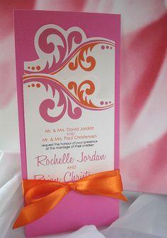 Mon Chérie Fuchsia and Orange Hand Cut Wedding by envymarketing, $6.00