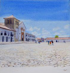 Watercolours, Mansions, House Styles, Home Decor, Villa De Leyva, Decoration Home, Manor Houses, Room Decor, Villas