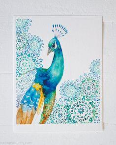 ART PRINT / Peacock, bird art, exotic bird, peacock decor, peacock nursery